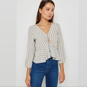 TOPSHOP Betty Stripe Ruched Keyhole Blouse Size 8